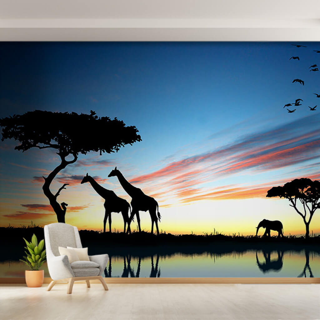 Giraffes elephant silhouettes at sunset in Africa wall mural