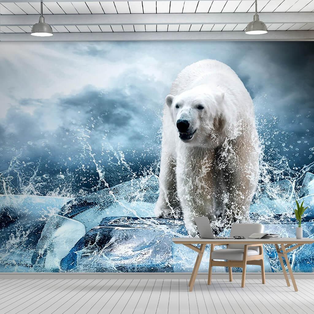 Buzlar üzerinde beyaz kutup ayısı vahşi hayvanlar duvar kağıdı