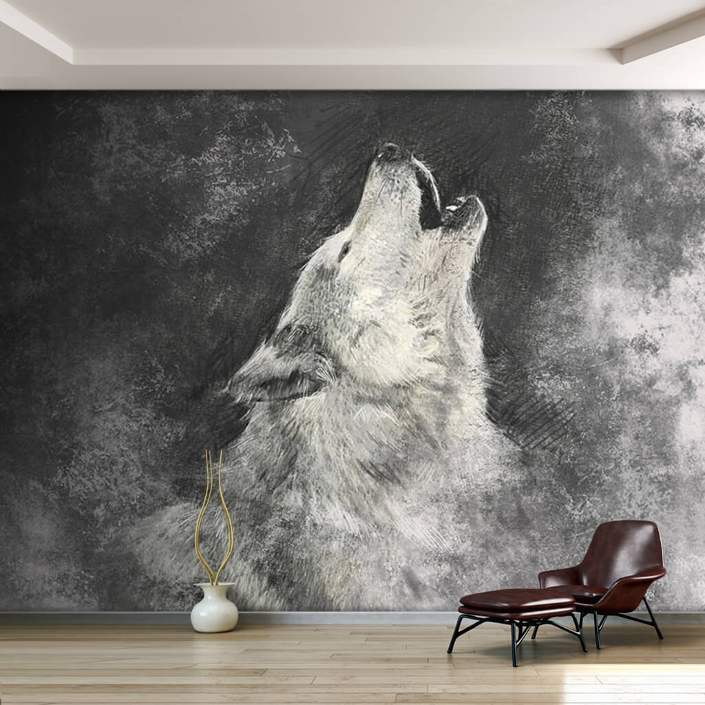 Illustration of wolf black white 3D custom wall mural