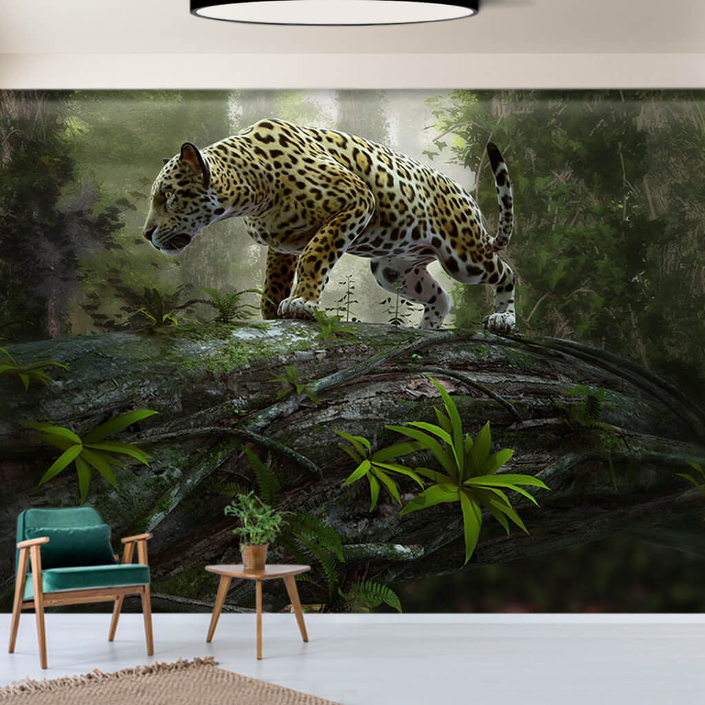 Illustration of jaguar on tree scalable custom wall mural