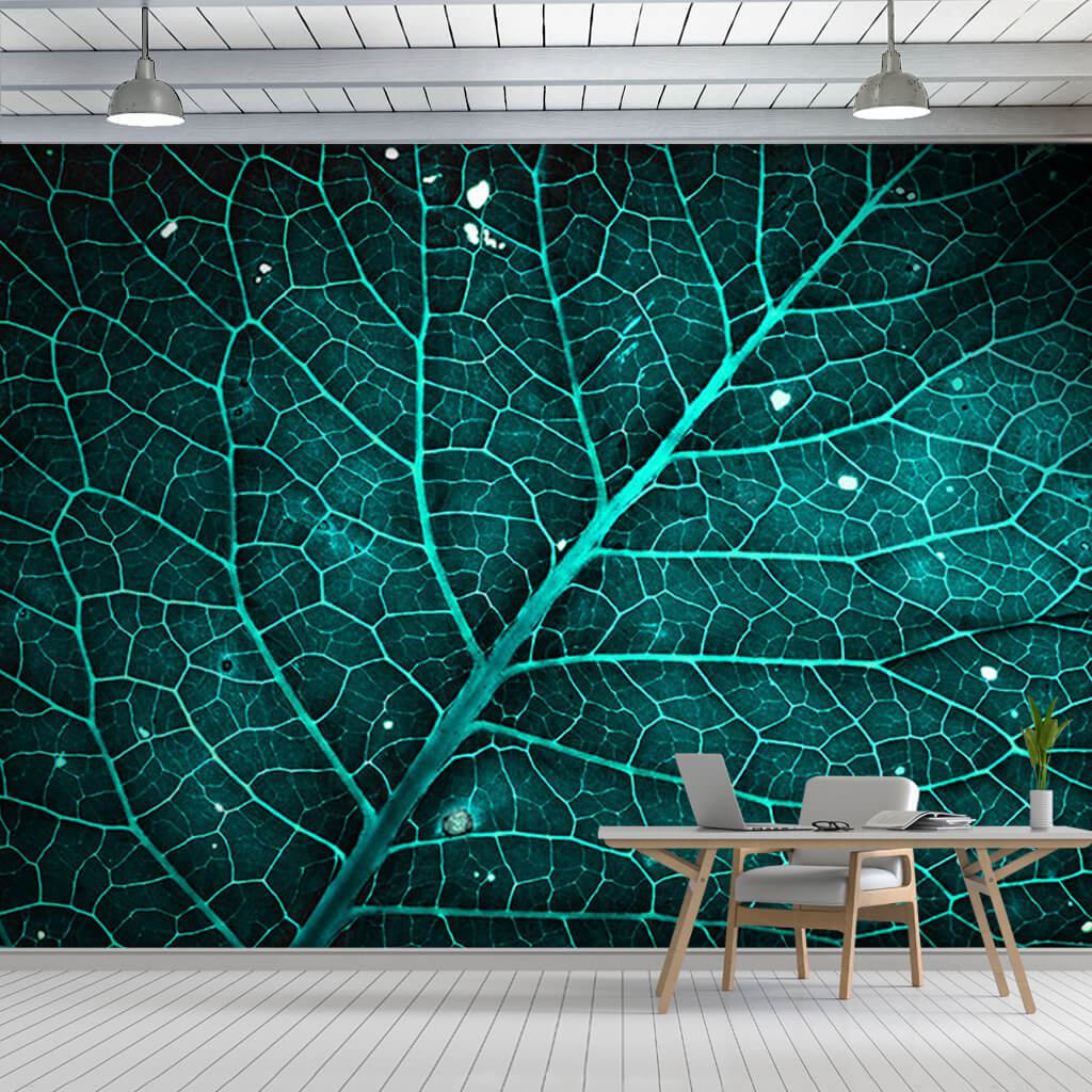 Emerald green leaf and vein texture custom scalable wall mural
