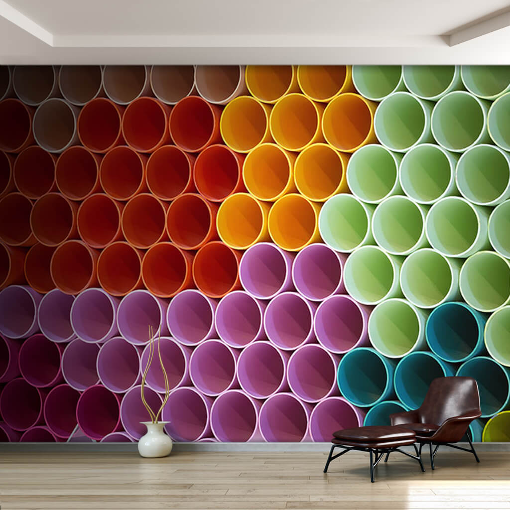 Colorful cylinder pipes circles 3D custom wall mural