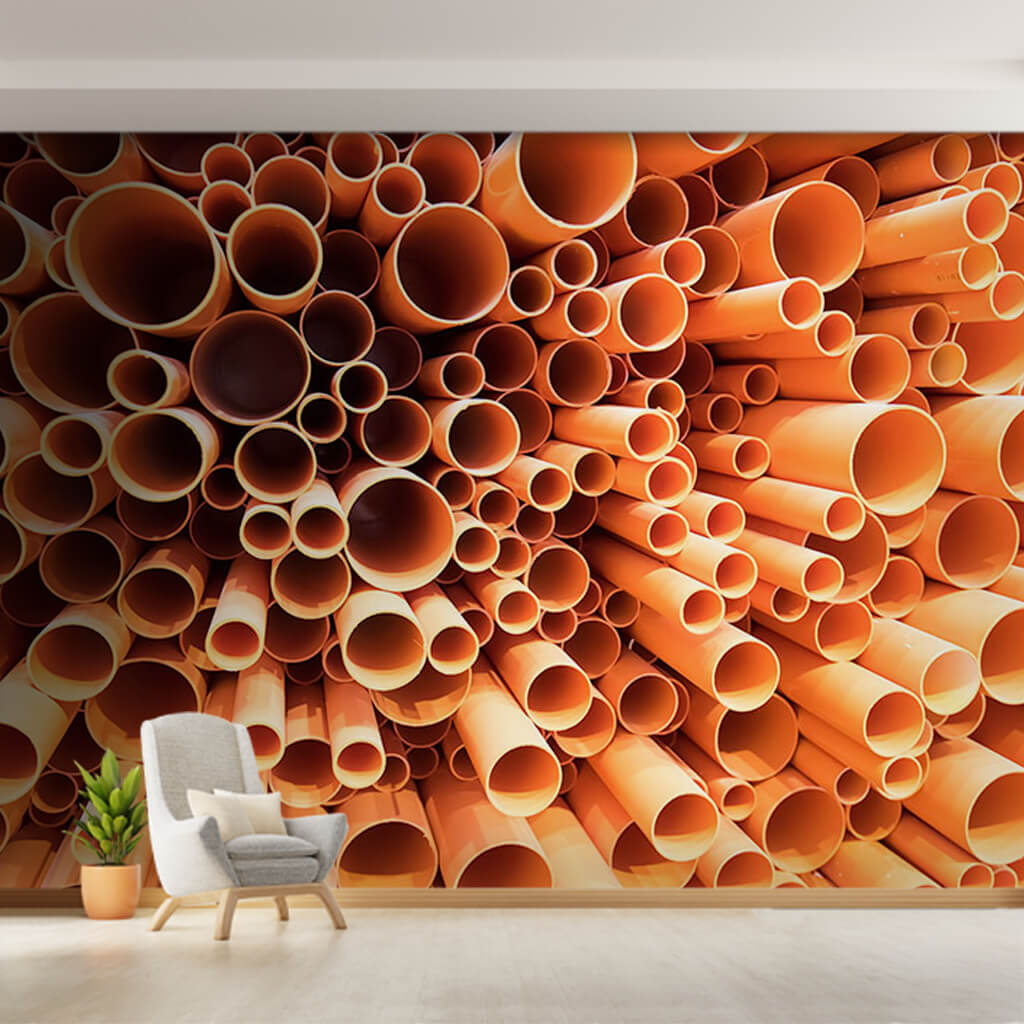Bamboo pipes in vertical perspective custom wall mural