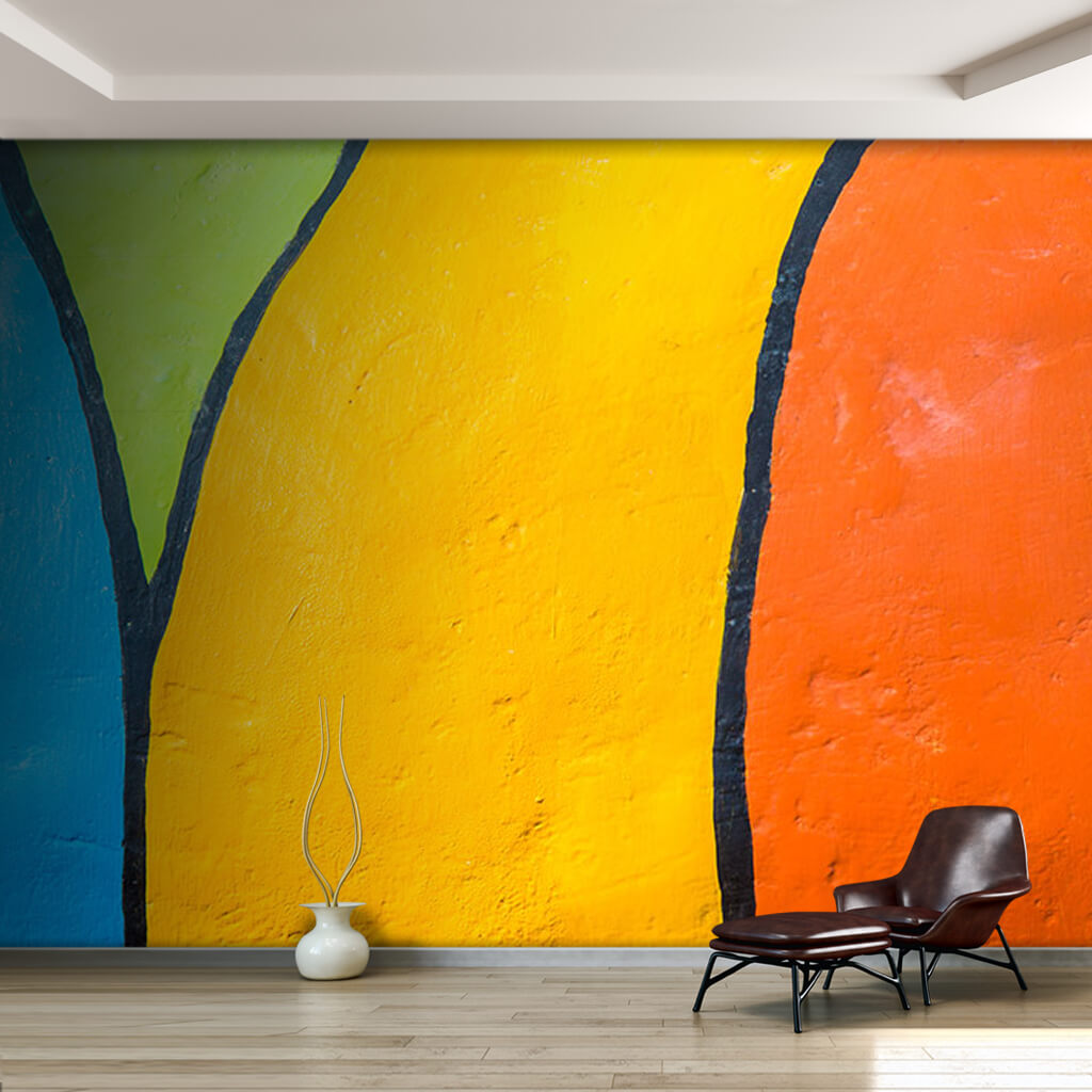 Orange yellow green blue graphic 3D section custom wall mural
