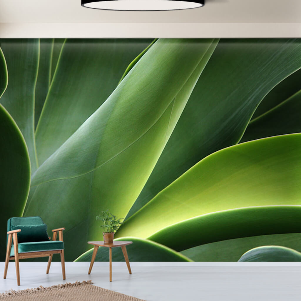 Abstract cactus green flower leaf 3D custom wall mural