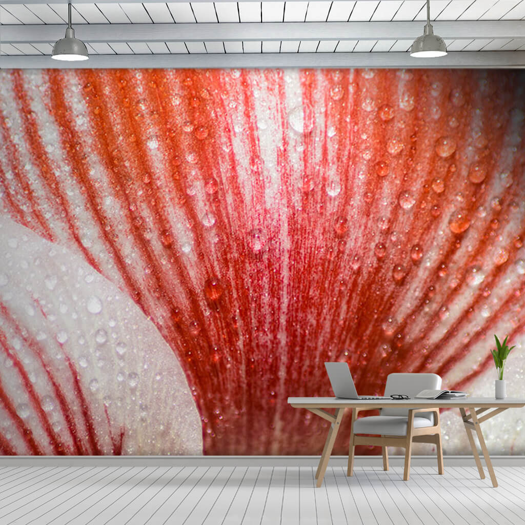 Red striped leaf cross section pattern 3D custom wall mural