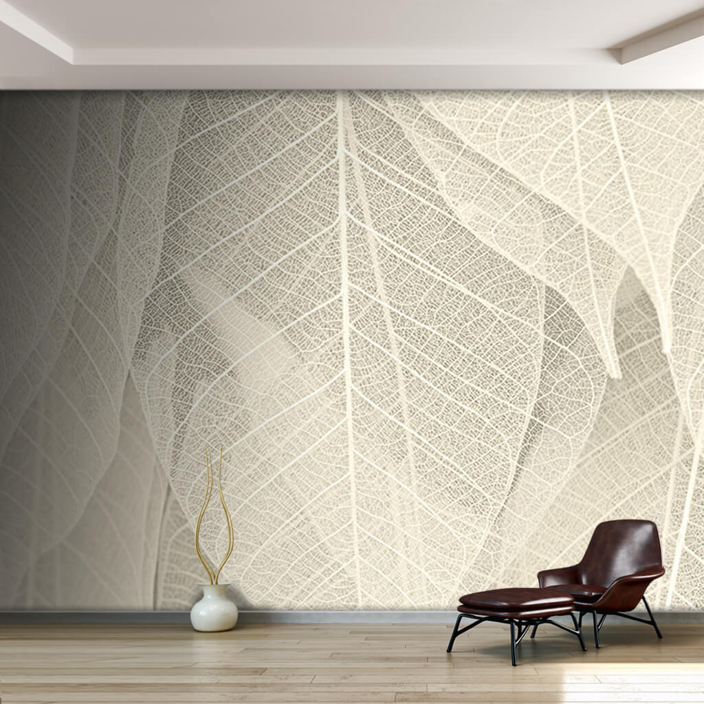 Transparent leaf veins pattern 3D scalable custom wall mural