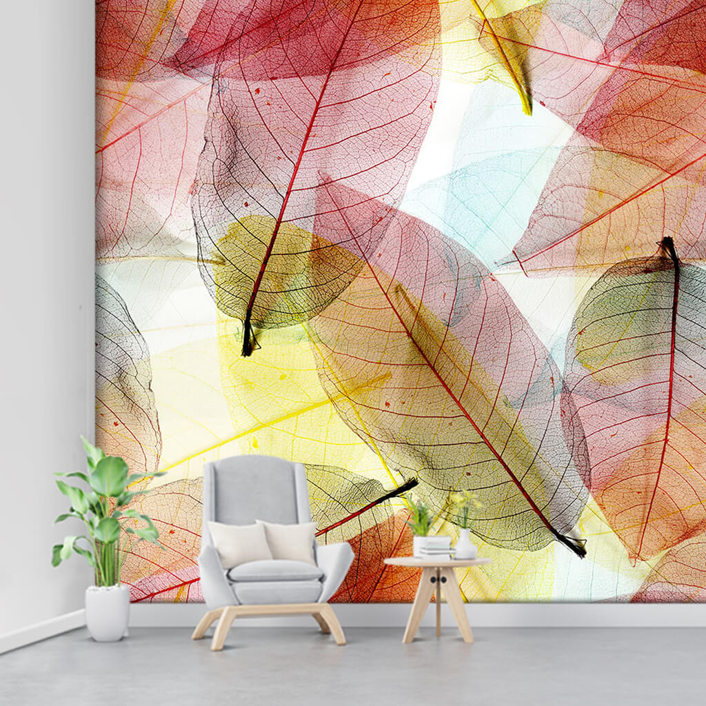 Cross section of dry leaves in autumn custom wall mural