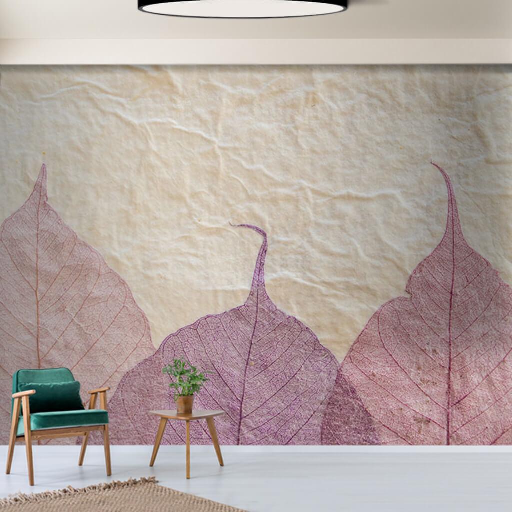 Mermer üzerinde kuru yaprak deseni duvar kağıdı