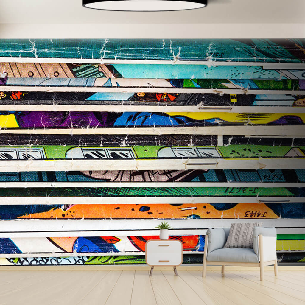 Graffiti retro line colorful section custom wall mural