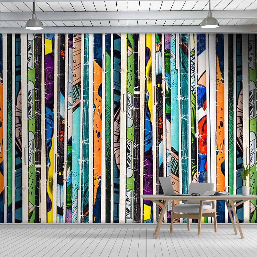 Retro çizgi roman renkli desenler duvar kağıdı