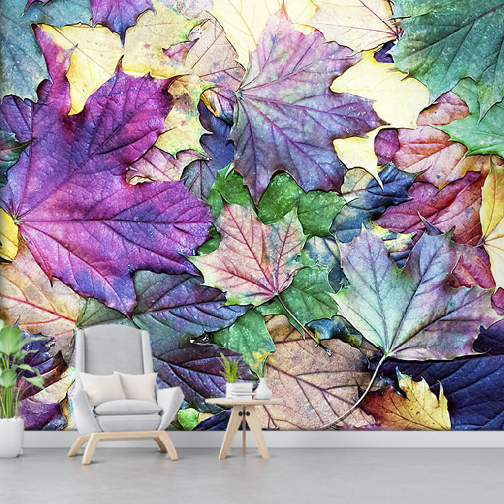 Green purple yellow plane tree leaves 3D custom wall mural