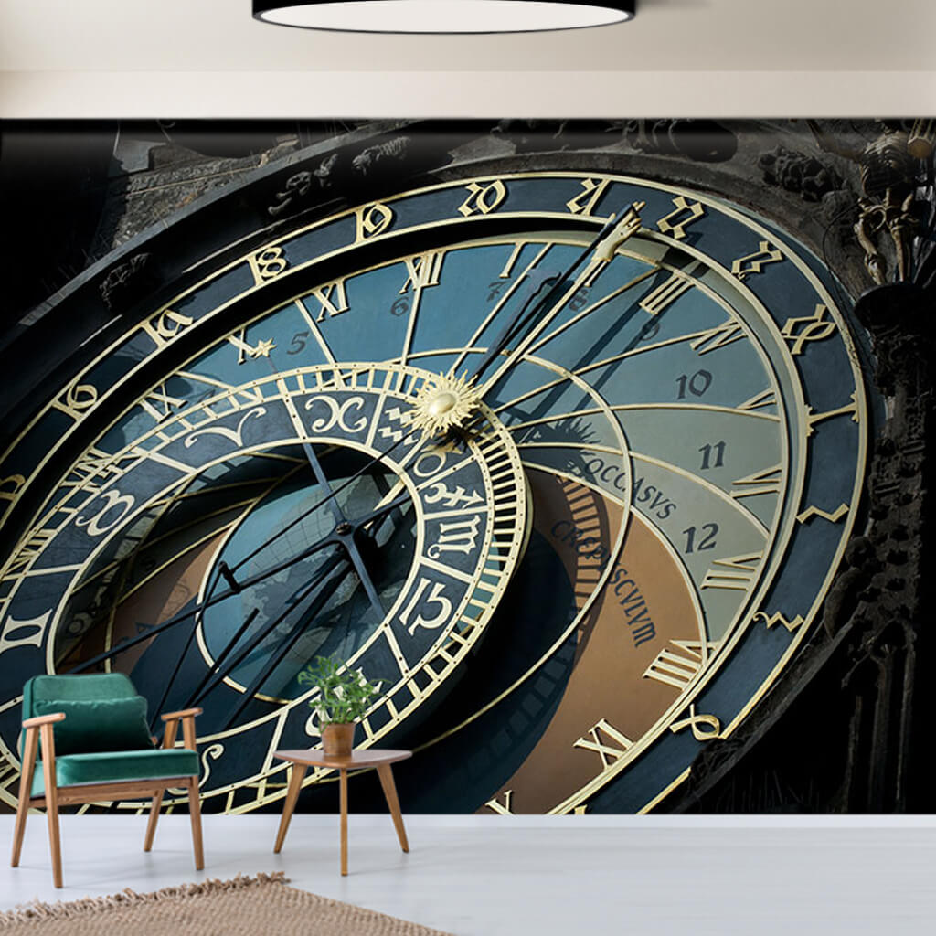 Prague astronomical clock navy blue zodiac wall mural