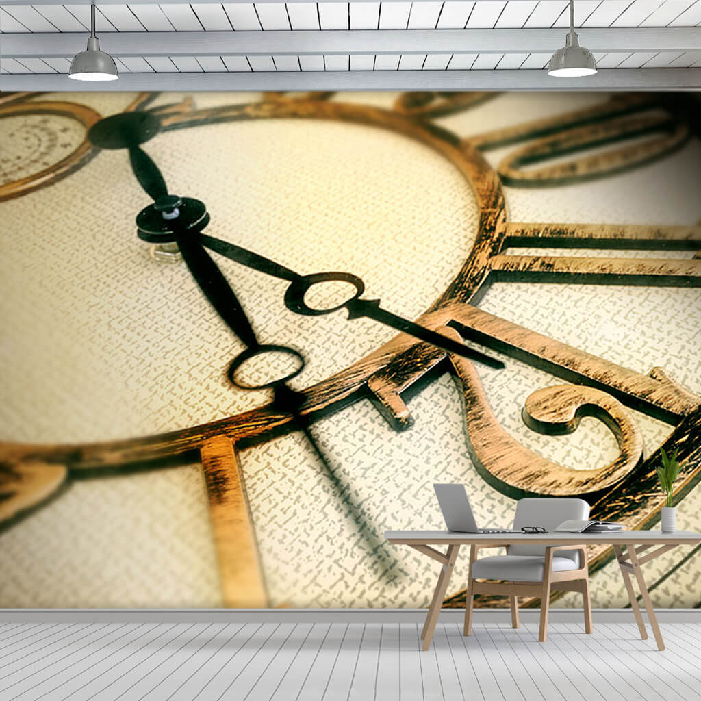 Cross section of analog wall clock decor custom wall mural