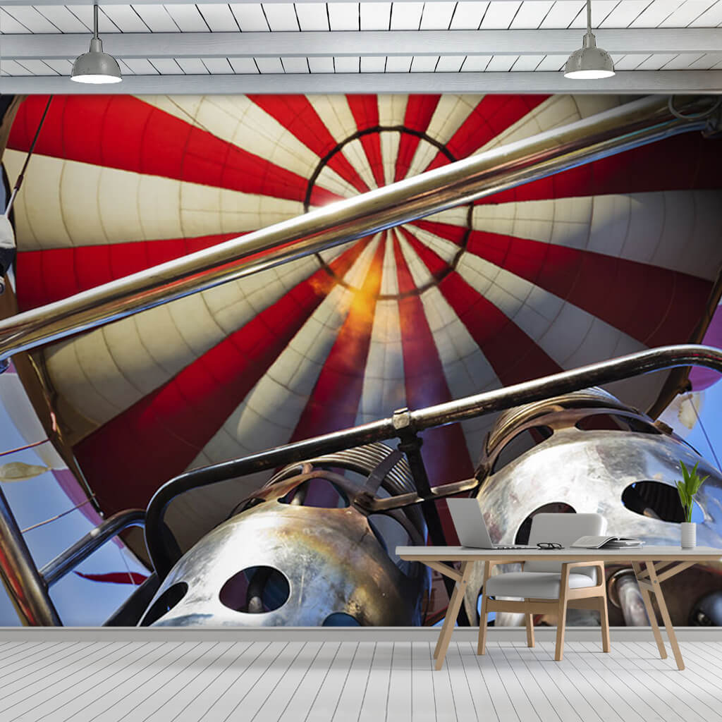 Red white hot air balloon from below ceiling wall mural
