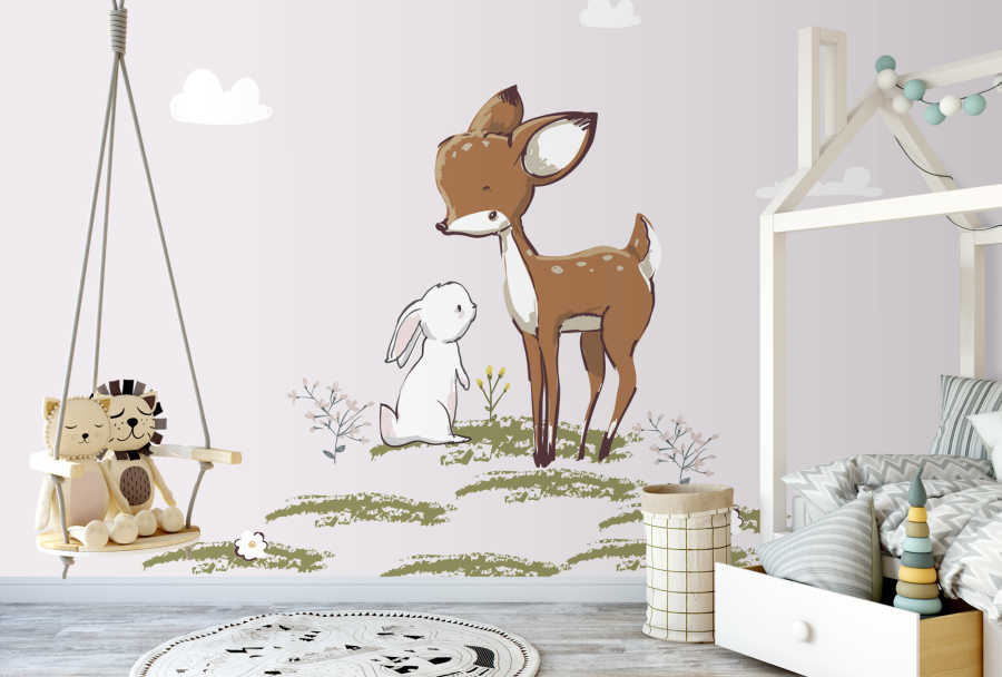 Bunny and foal gazelle talking in the meadow baby wall mural