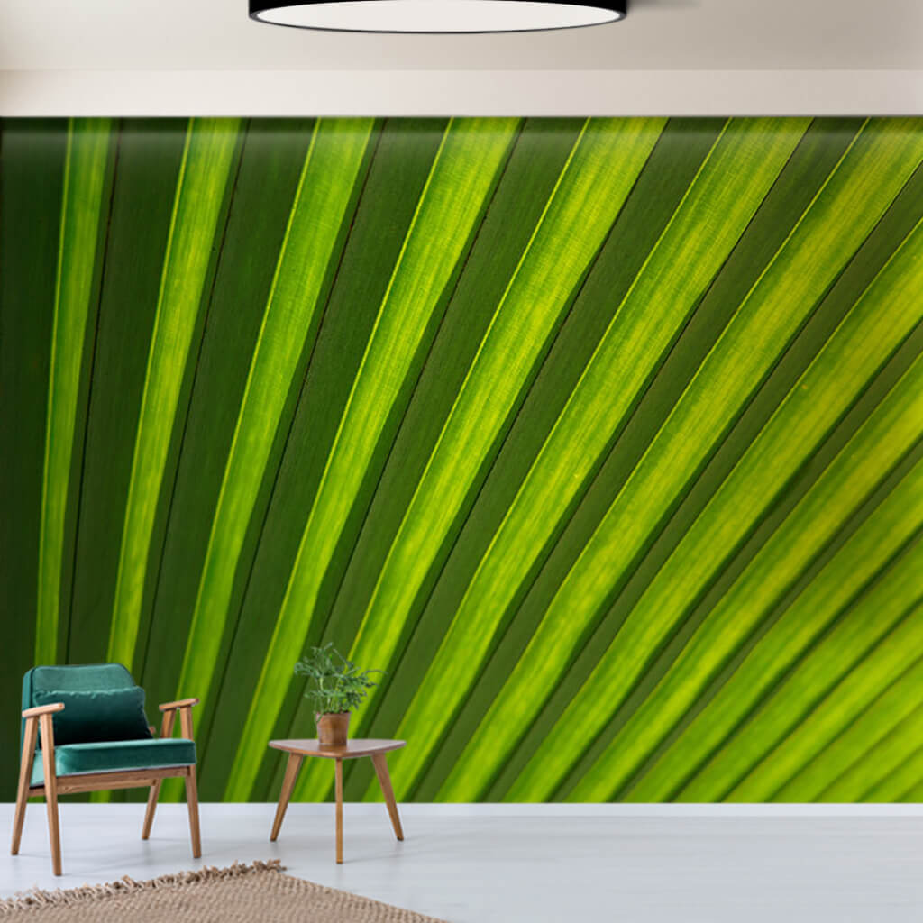 Cross section of green palm leaf detail custom wall mural