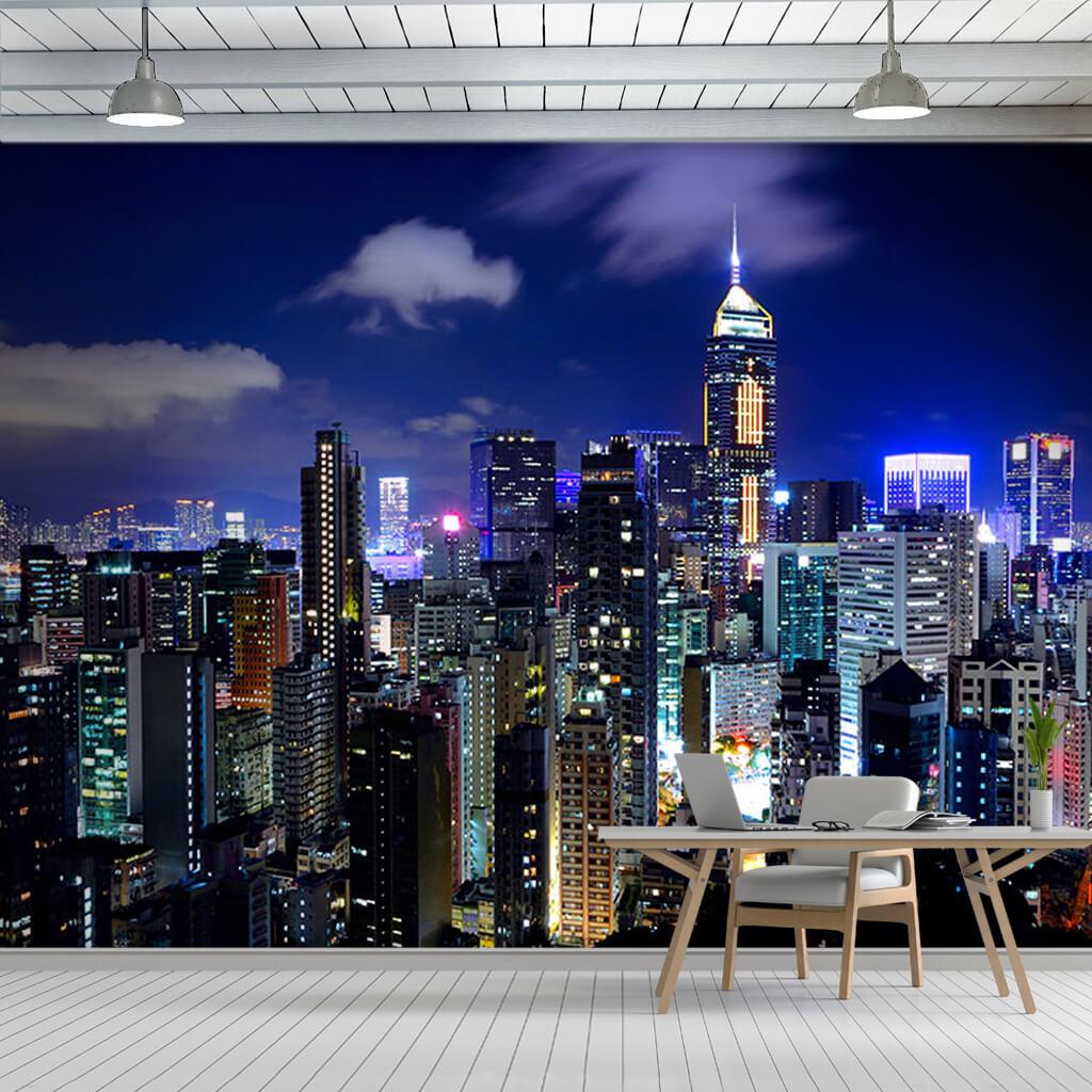 City and skyscraper lights at night Hong Kong China wall mural