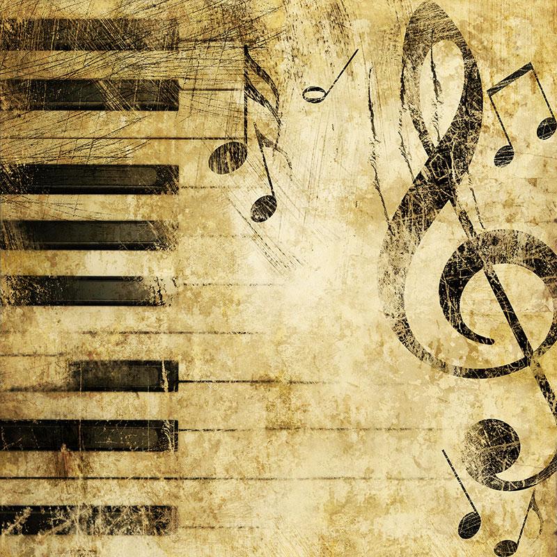 Piano Keys Left Key And Sheet Music Music Wall Mural