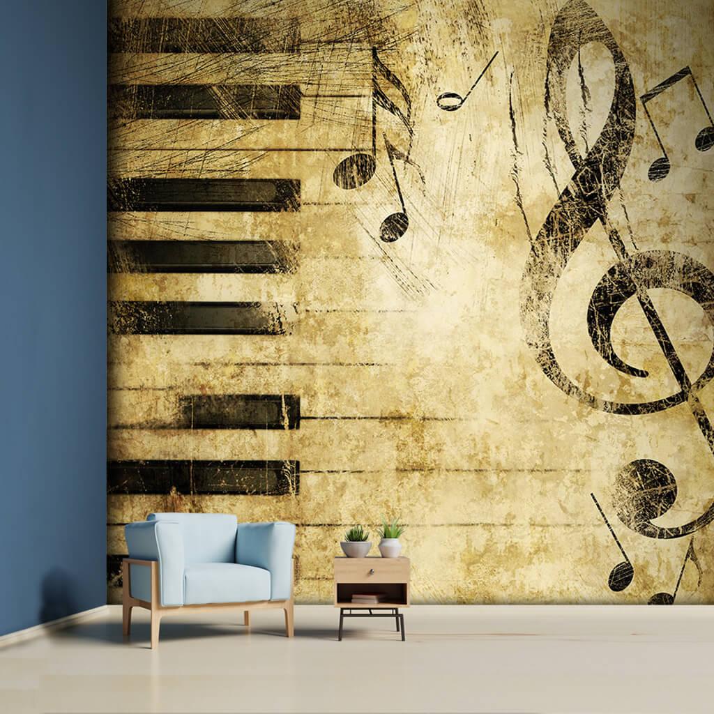 Piyano tuşları sol anahtarı ve notalar müzik duvar kağıdı