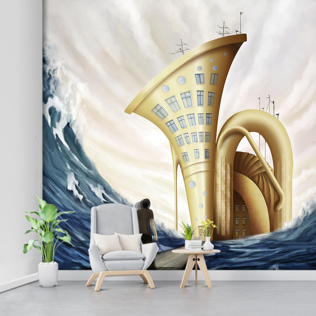 Abstract wallpaper of man going to Tuba home wall mural