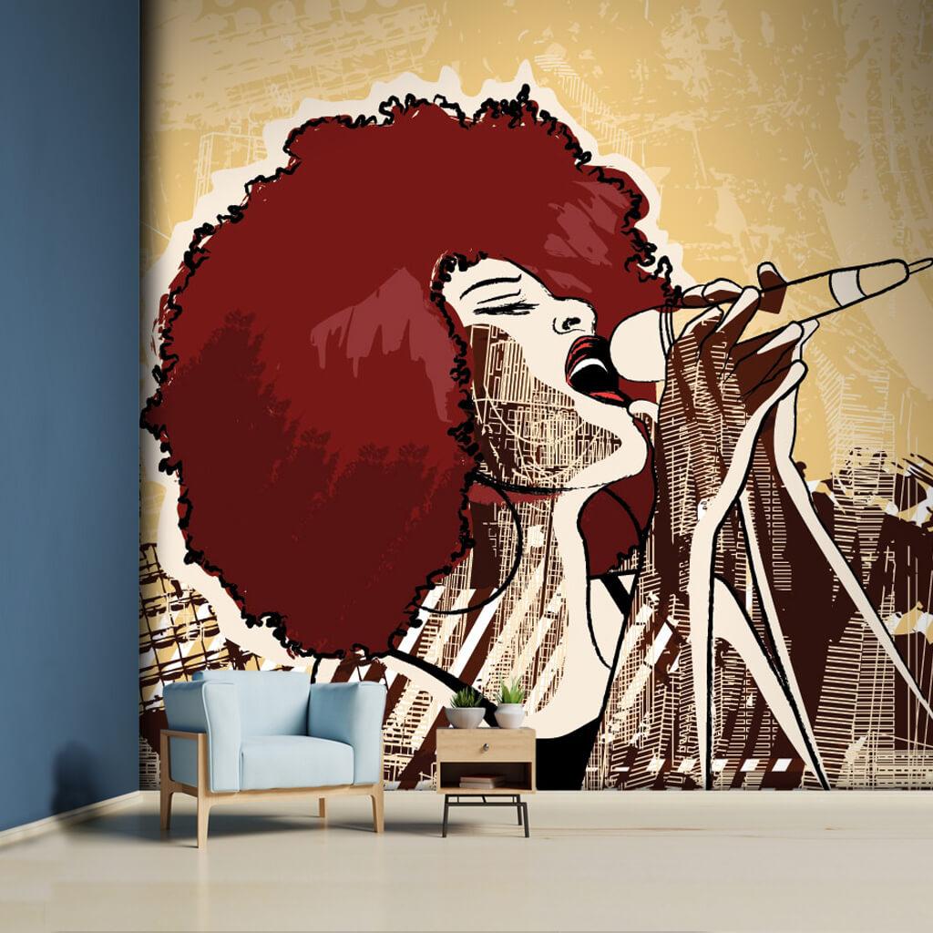 Mikrofon ile şarkı söyleyen siyahi kadın şarkıcı duvar kağıdı