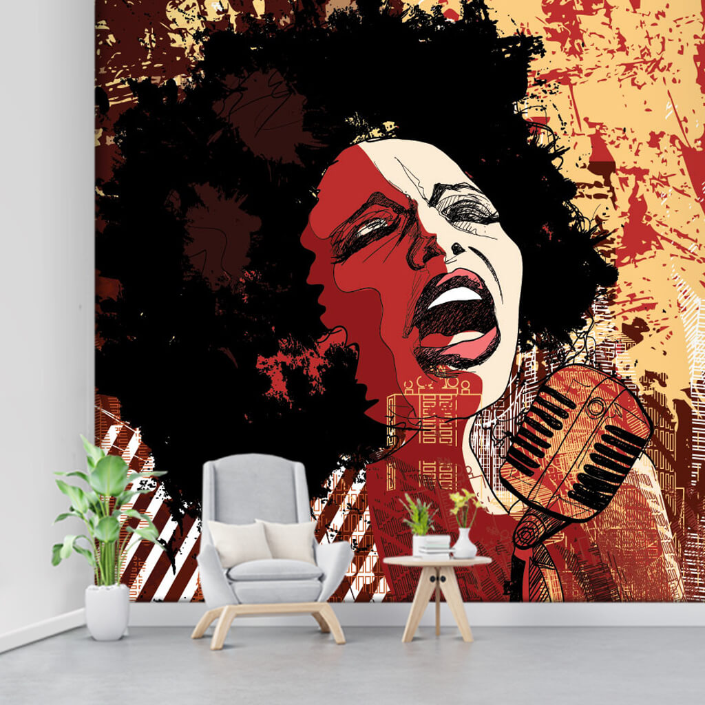 Jazz singing black female singer music art wall mural
