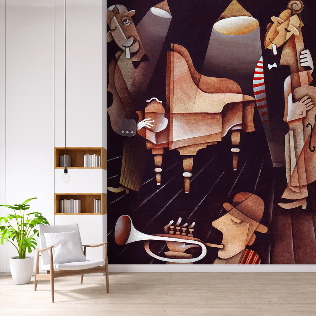 Caz müzik temalı üçlü orkestra sürreal resim duvar kağıdı
