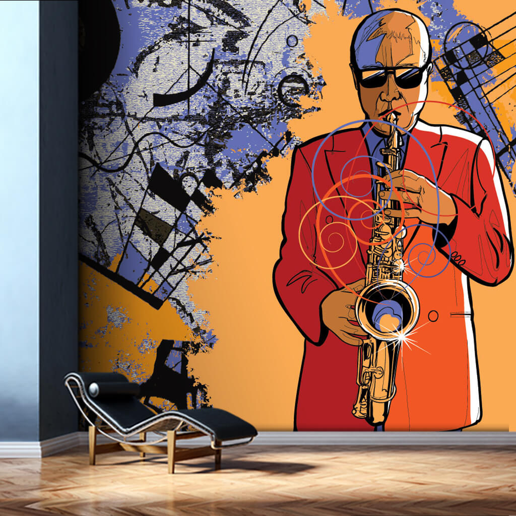 Man playing saxophone jazz music art custom wall mural