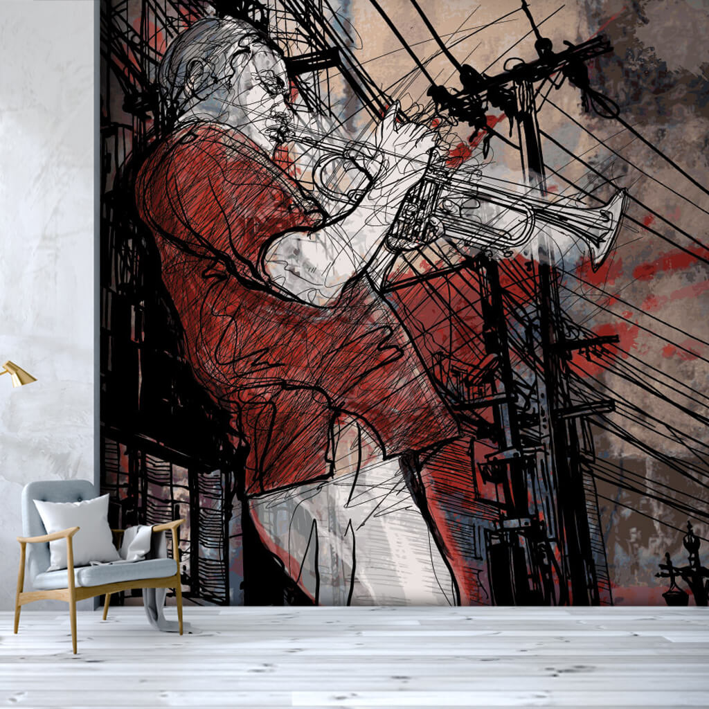 Man playing trumpet doodle jazz music art wall mural