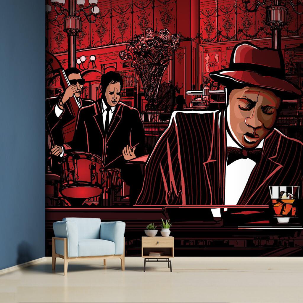 Caz Blues orkestrası kırmızı illistürasyon bar duvar kağıdı