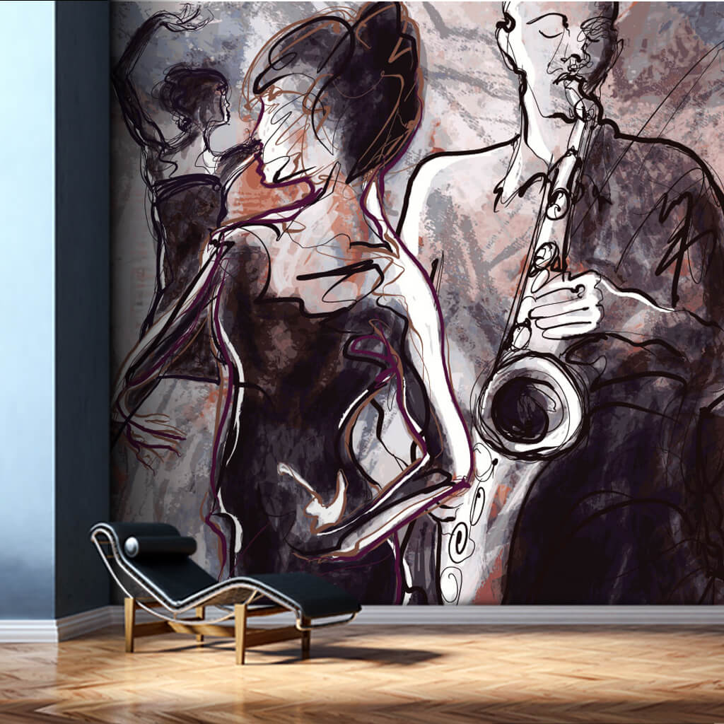 Man playing saxophone and dancing woman illustration