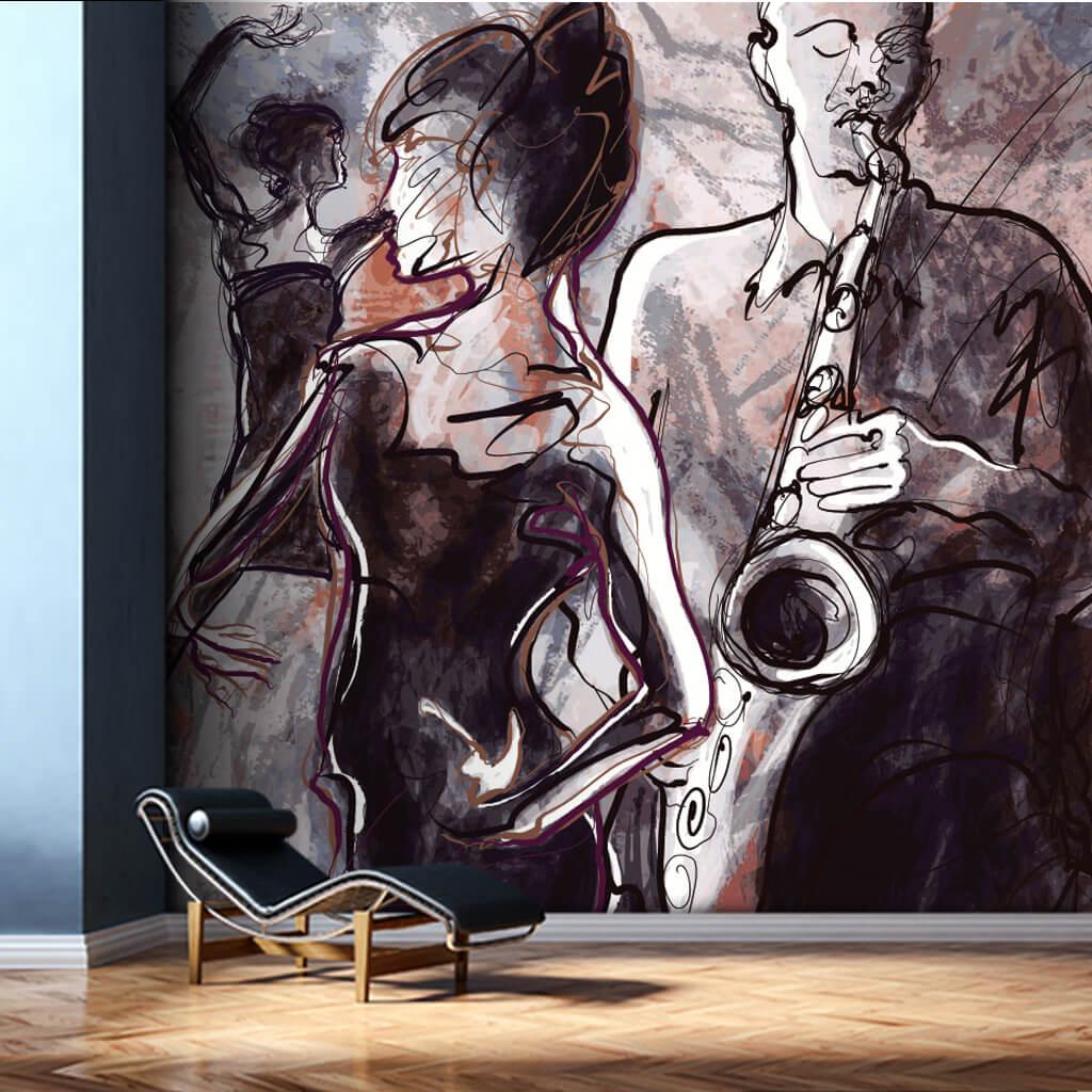 Saksafon çalan adam ve dans eden kadın resmi duvar kağıdı