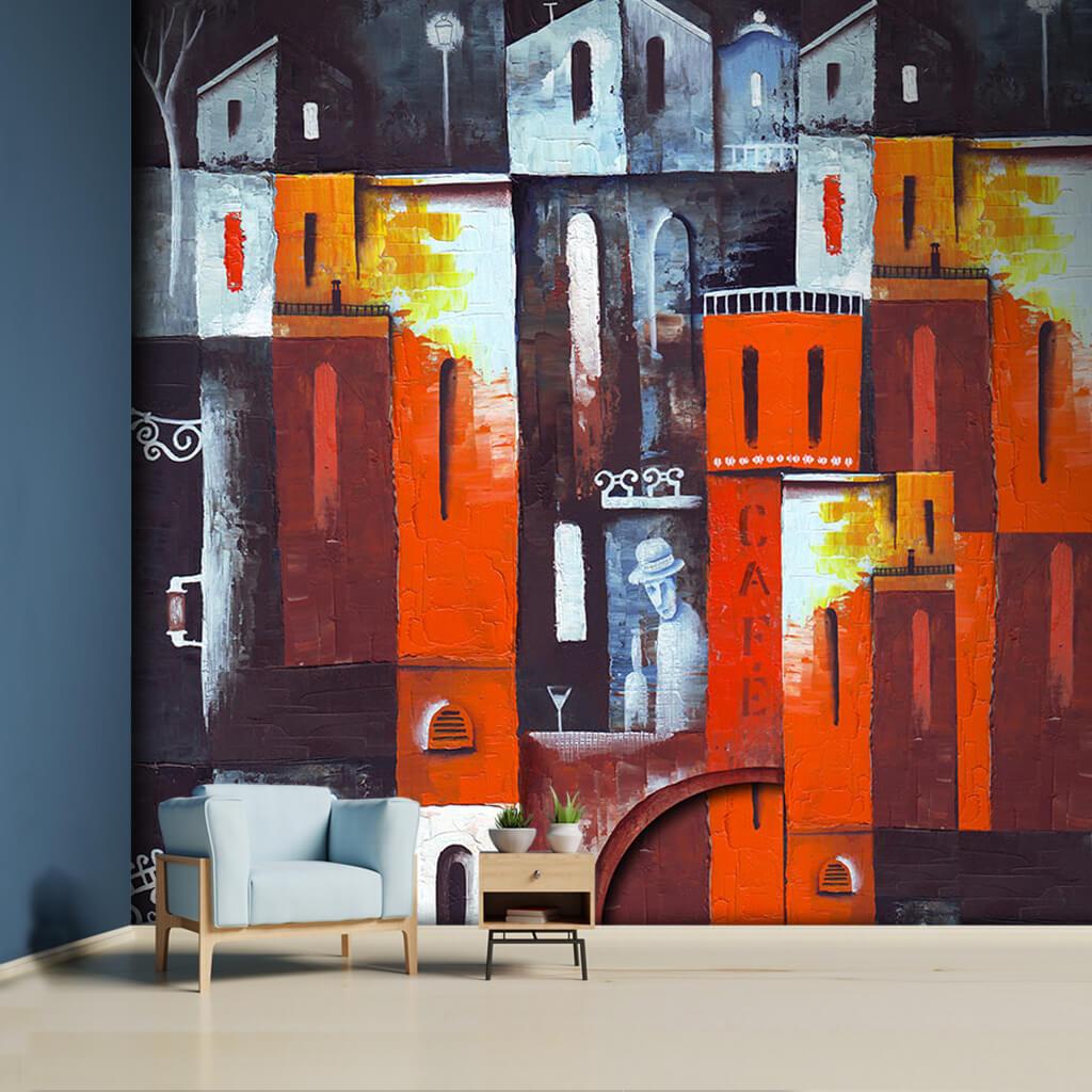 Kafe'de şapkalı adam  sürreal turuncu resim duvar kağıdı