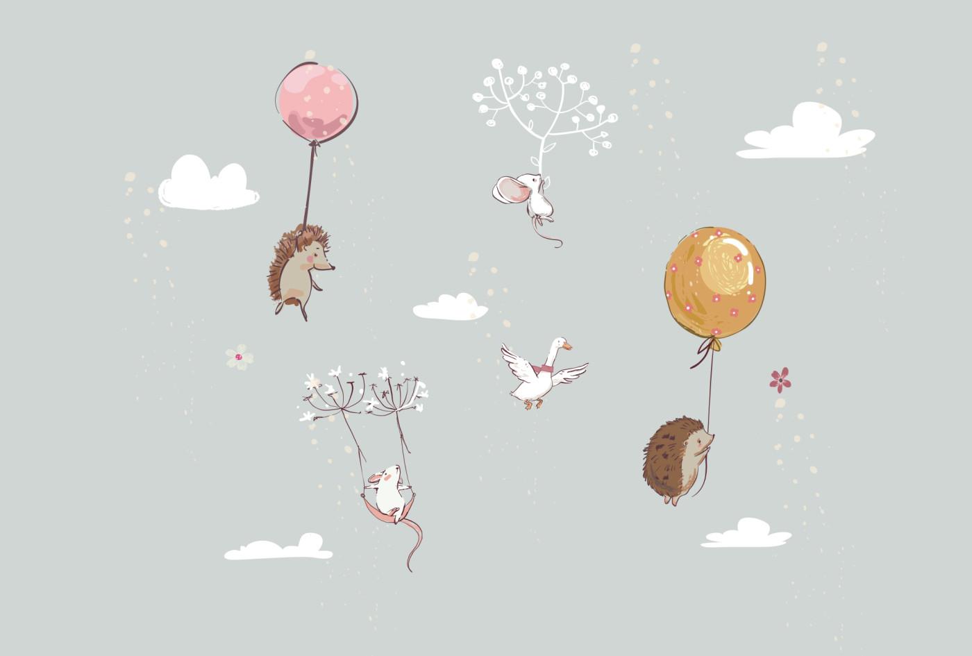 Ucan Balonla Kirpiler Fareler Bebek Odasi Duvar Kagidi