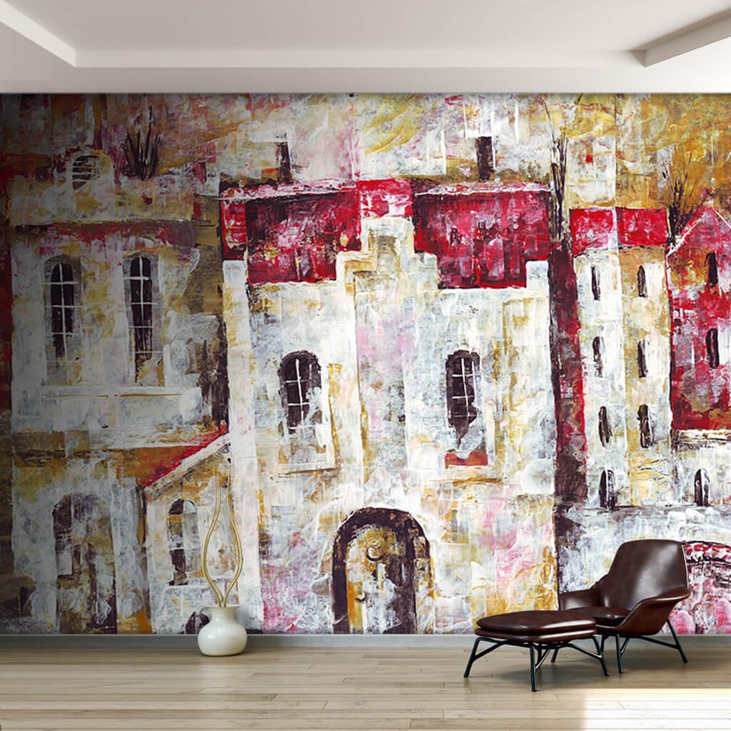 Beyaz badanalı sıralı evler sürreal resim sanat duvar kağıdı