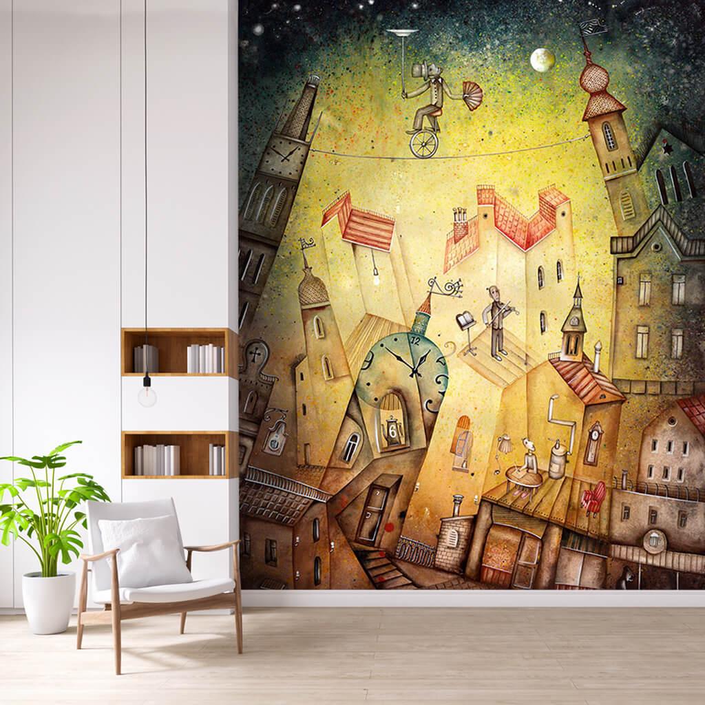 Gece şehir üzerinde ipte yürüyen cambaz soyut duvar kağıdı