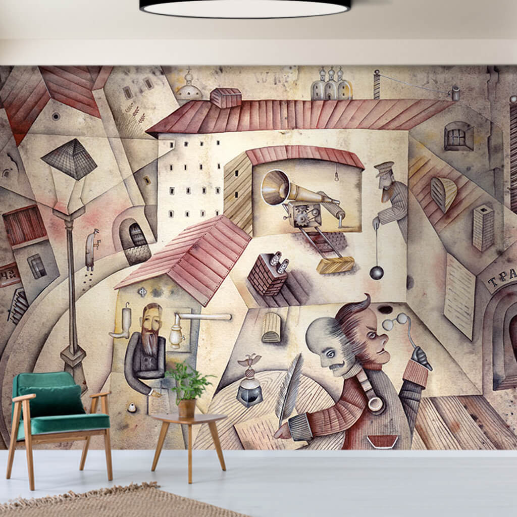 Crime and punishment Dostoyevsky themed surreal wall mural