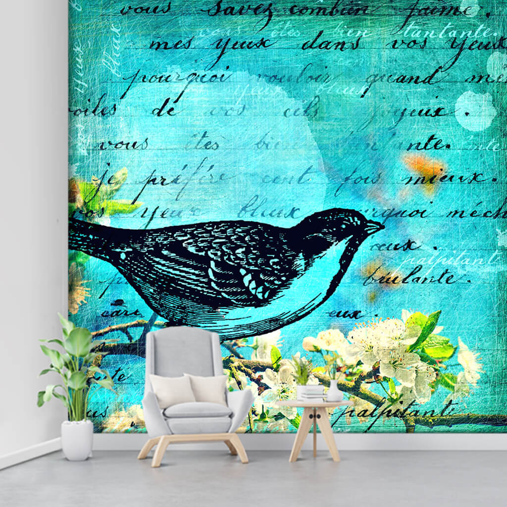 Cherry blossom branch with bird and poem drawing wall mural