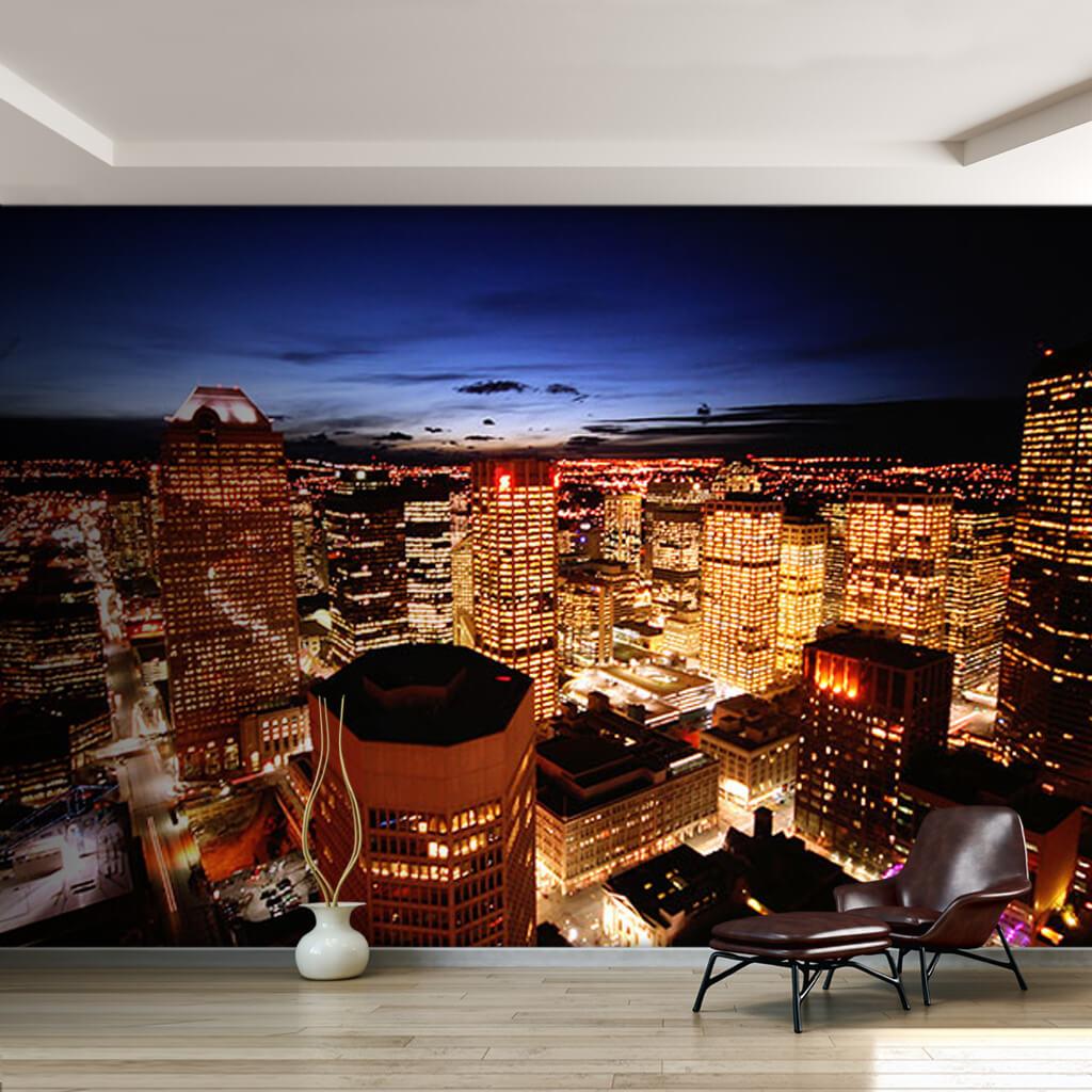 Gece gökdelenler şehri Calgary Alberta Kanada duvar kağıdı