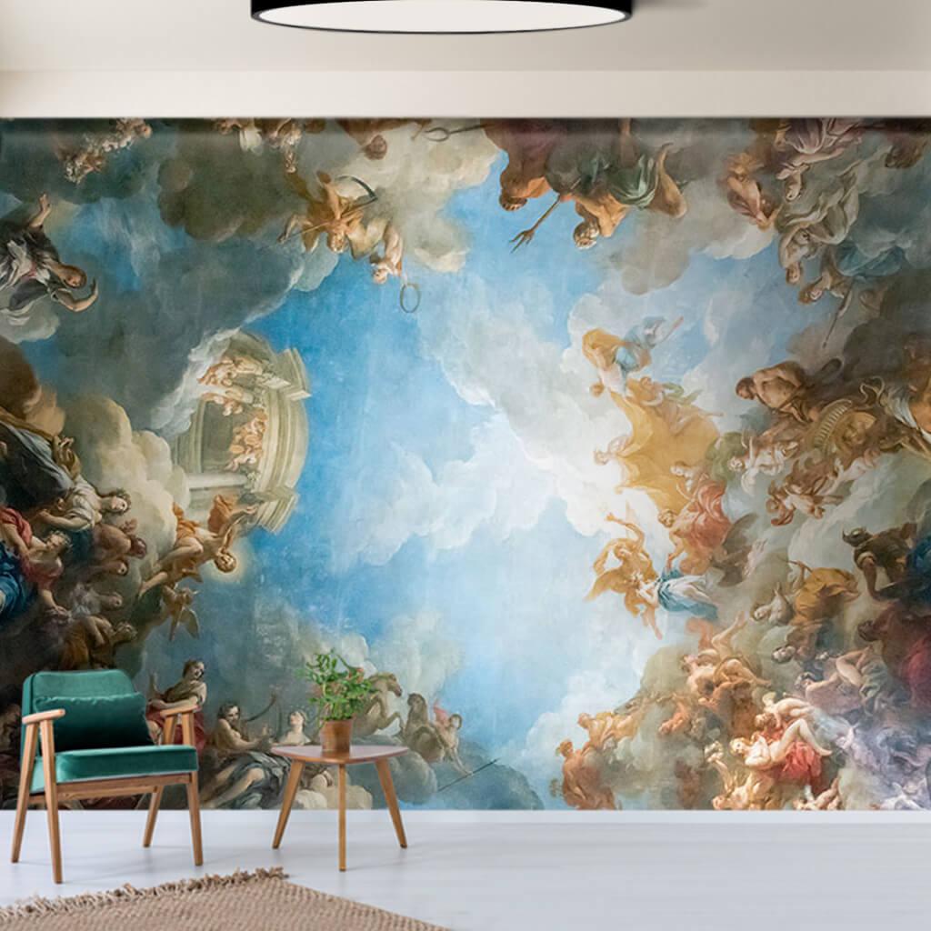 Hristiyan tavan resmi Versay sarayı Paris duvar kağıdı