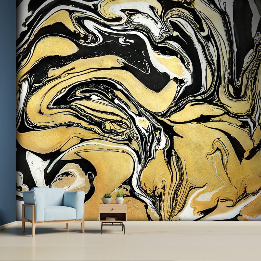 Ebru sanatı sarı siyah mürekkep suluboya duvar kağıdı
