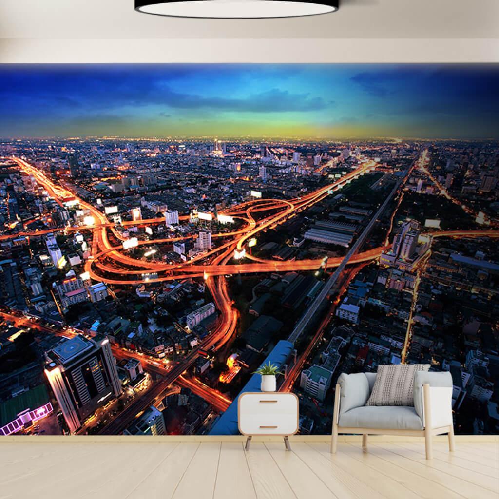 City  and traffic at night Bangkok Thailand wall mural