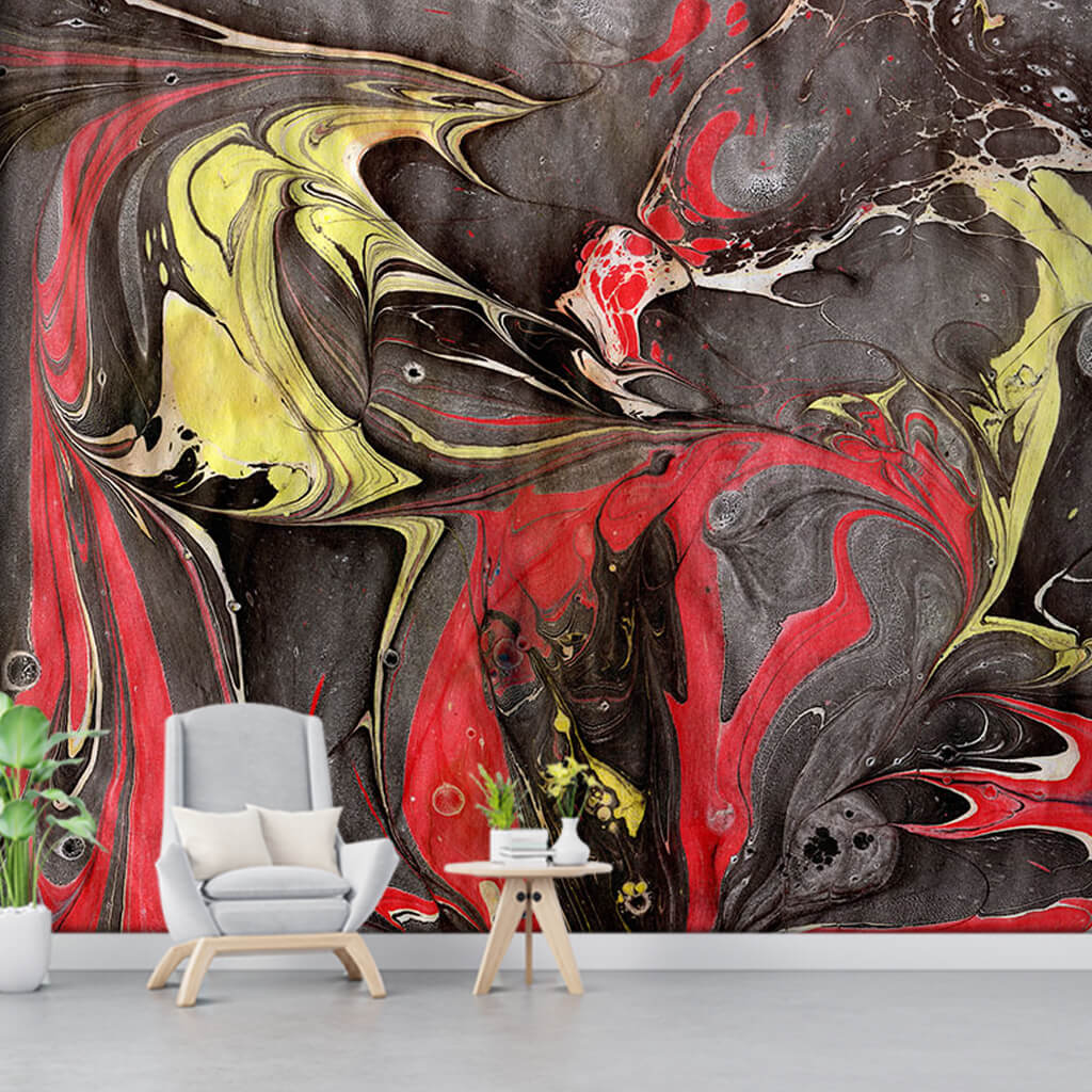 Ebru sanatı sarı siyah kırmızı mürekkep sulu boya duvar kağıdı