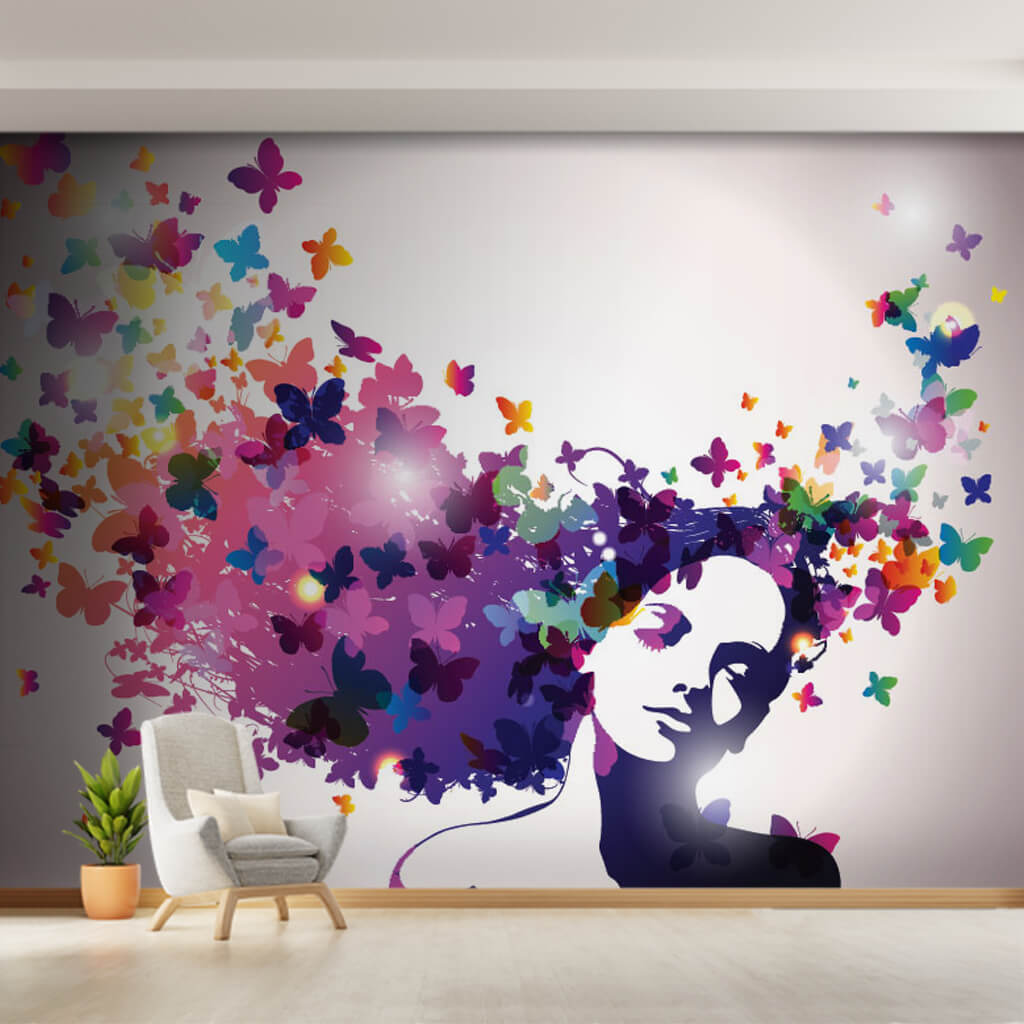 A girl with hair turned into colorful butterflies wall mural