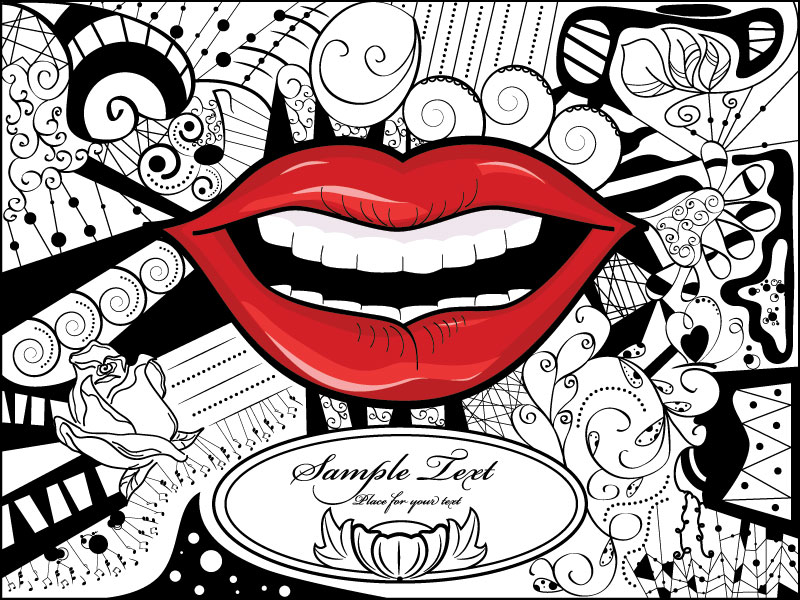 Black And White Clipart Image Of Red Lips Art Wall Mural