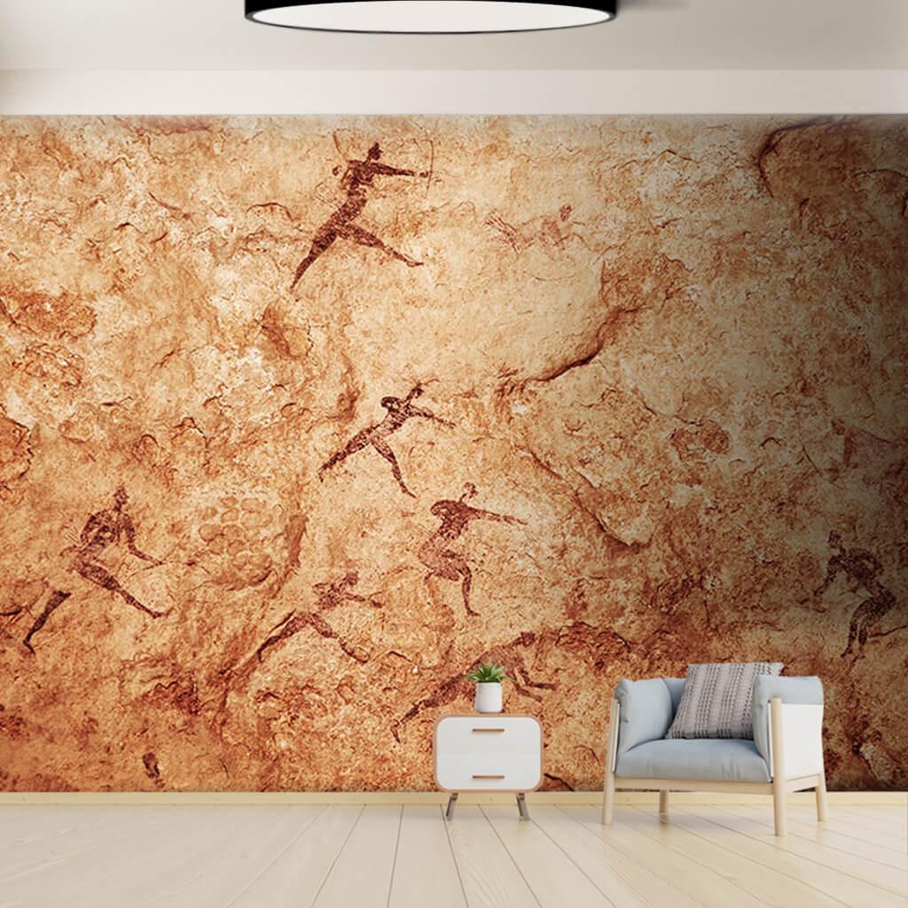 Av temalı kaya resimleri Tassili n'Ajjer Cezayir duvar kağıdı