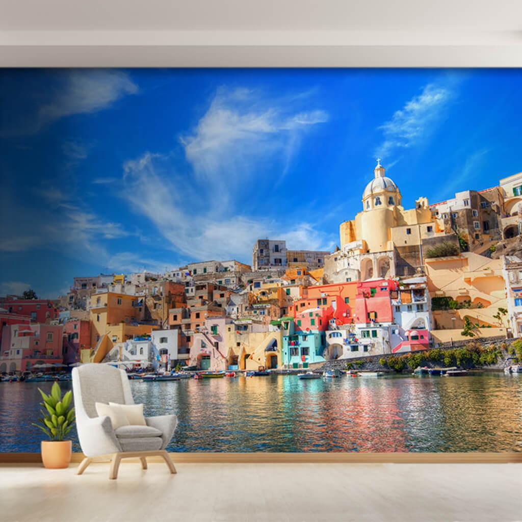 Eski şehir Corricella Limanı Procida Adası Napoli duvar kağıdı