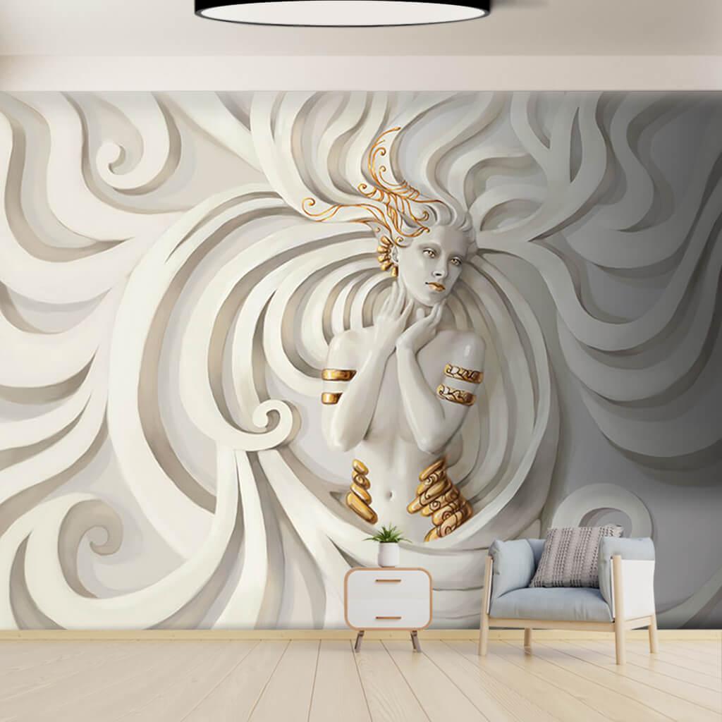 Beyaz alçı 3 boyutlu kabartma kadın Medusa duvar kağıdı