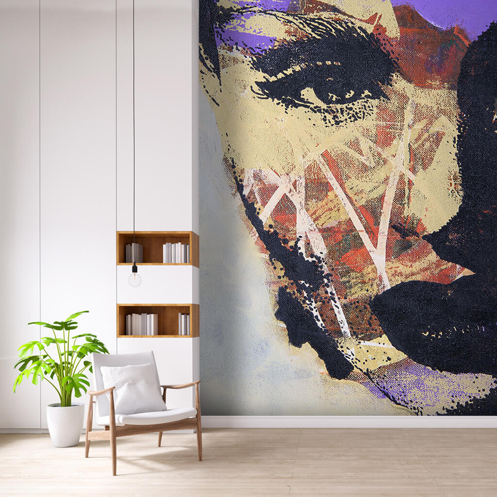 Female face with violet colors abstract print wall mural